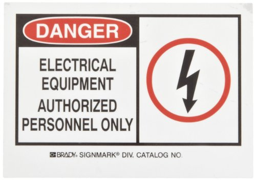 "Brady 83900 5"" Width X 3-1/2"" Height B-302 Polyester, Black And Red On White Alert Sign, Header ""Danger"", Legend ""Electrical Equipment Authorized Personnel Only"" (With Picto)"