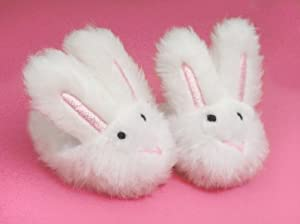 Doll Slippers- White Bunny Slippers, Sized for 18 Inch Dolls, Like American Girl, Doll Accessories