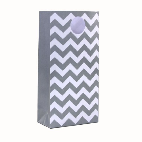 Dress My Cupcake 12-Pack Party Treat Bags, Chevron, Gray (Popcorn Bag Cupcake compare prices)