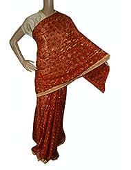 Beautiful RUDA Designer Phulkari Embroidered Saree-JS1092