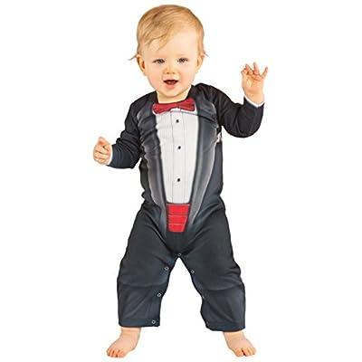 Infant Bow Tie Tux Tuxedo Longsleeve Bodysuit Romper