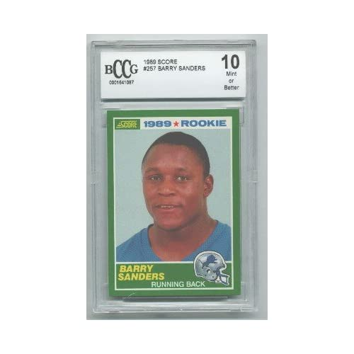 Barry Sanders 1989 Score Rookie Card: 1989 Score Barry Sanders Rookie Card Graded BCCG 10 At