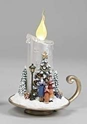 "7"" Amusements LED Lighted Christmas Carolers Flickering Silver Candle"