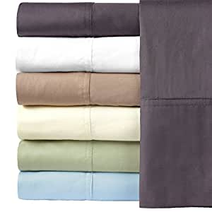 Solid Charcoal Silky Soft Hybrid Bamboo Cotton King Sheet Set, 100% Bamboo-Cotton Bed Sheets