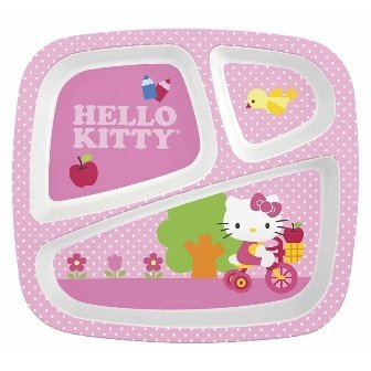 Zak Design Hello Kitty HLKL-0010 3 Section Plate, Pack Of 6 - 1