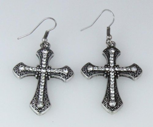 5030024 Cross Earrings CZ Diamond Antique Brushed Filigree Christian Religious