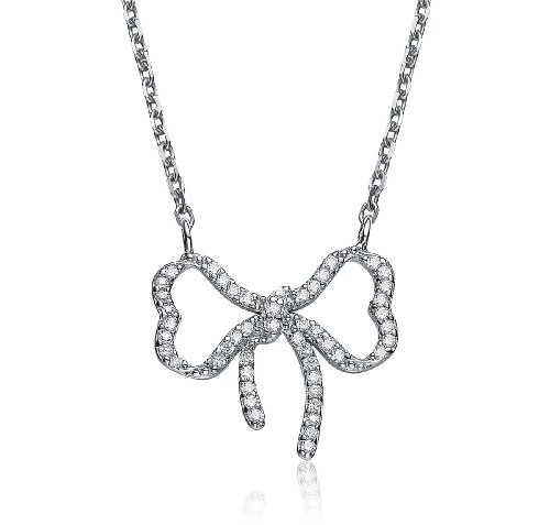 ClassicDiamondHouse CZ MICRO PAVE BOW PENDANT - Incl. ClassicDiamondHouse Free Gift Box & Cleaning Cloth