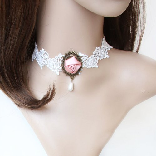 Brightdeal Fashion Hand Craft Romantic Beautiful Retro Vintage Gothic Style Flower Pattern Design Wedding Decorations?Classic Royal Hand Lace Necklace Choker With Jewelry Flower for Festivals for Bridal Wedding Decoration