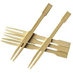 Cocktail Picks, Pastry Forks, Appetizer Bamboo Forks For Party, Banquet And Daily Life 3.14 Inch, Set Of 100