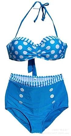 Maillot de bain push up rembourre Femme bikini,Bleu,FR taille 34-36(Label S)