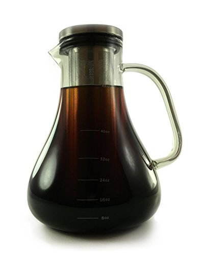Cold Brew Coffee Maker - 1.5L Large Glass Carafe with Removable Double Walled Stainless Steel Filter - Use to Brew Hot or Cold Tea or Coffee (Micro Pure Air Cleaner compare prices)
