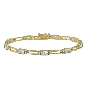 18k Gold Plated Sterling Silver Diamond Accent and Blue Topaz Double Bar Link Bracelet, 7.25""
