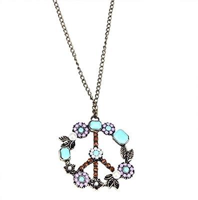 Anhänger Rosennie Damen Bohemien Retro Perle Frieden Halskette