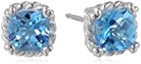 Sterling Silver Swiss Blue Topaz Cushion Cut Twisted Stud Earrings from PAJ, Inc