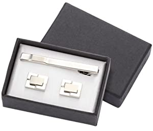 Aeropen International CUT-02 2 Tone Silver Metal Cufflinks with Matching Tie Clip