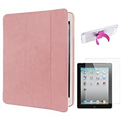 DMG Smart PU Leather Ultra Thin Trifold Book Cover Case For Apple iPad 2 / 3 / 4 (Pink) + Touch U Silicone Stand + Matte Screen