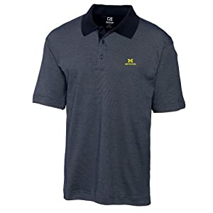 NCAA Mens Michigan Wolverines Navy Blue Drytec Resolute Polo Tee by Cutter & Buck
