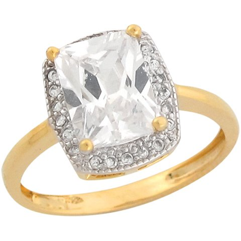 14ct Real Two Colour Gold 3.82ct CZ Solitaire Ladies Engagement Ring
