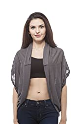 Open Cardigan with side layered (Medium, Charcoal)
