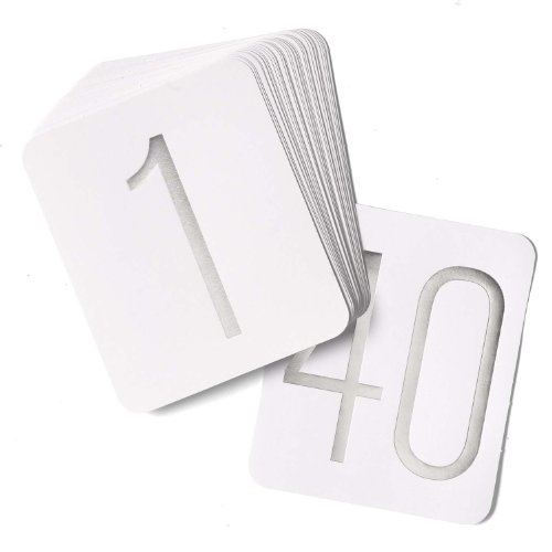 Hortense B. Hewitt Wedding Accessories Table Numbers 1 Through 40, Silver Foil on White, 5 by 6-Inch Each