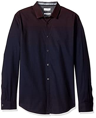 Calvin Klein Men's Slim Fit Long Sleeve Ombre Check  Button Down Shirt