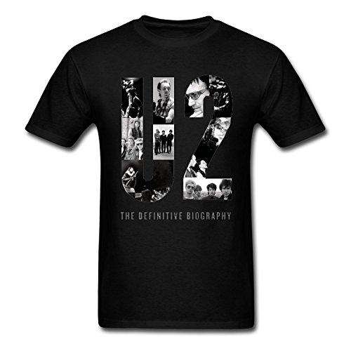 U2 Band Photo Art T Shirt For Uomo Nero Large