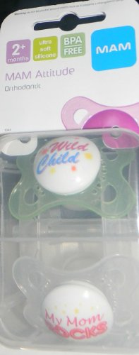 Mam Attitude Orthodontic Pacifiers 2 Months Ultra Soft Silicone Bpa Free front-841583