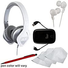 buy Jvc Ha-Sr100X Xx Elation Series On-Ear Headphones With Remote & Mic (Silver) With Ear Buds + Portable Power Pack + Stylus Pen + Cleaning Kit