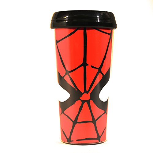 Silver Buffalo MC7087 Marvel Spiderman Eyes BPA-Free Plastic Travel Mug, 16 oz., Red