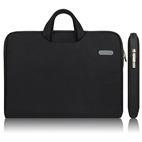 Arvok 15,6 pollici tela resistente all'acqua per Laptop con manico, zip e tasca per&-Custodia per Notebook/Ultrabook/Tablet EUAccessories-Custodia borsa per Acer, Asus, Dell, Lenovo, Samsung, HP, Sony, Toshiba (15.6, Nero)