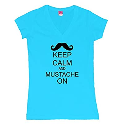 Keep Clam and Mustache On with amazing a moustache Juniors V-neck T-Shirt