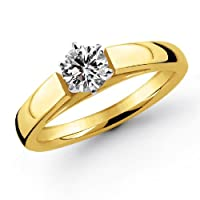 14k Yellow Gold 1/3 Carat Round Cut Cathedral Solitaire Diamond Ring (G-H ; SI1-2)