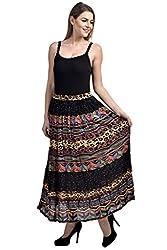 FASHION By The BrandStand Women's Cotton Skirt (VS_SKT9011-Multi-Blk_L, Multicolor, Large)