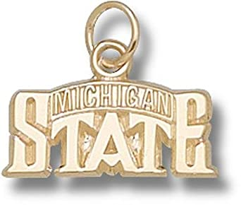 Michigan State Spartans Bridge Design Logo 5 16 Charm - 14KT Gold Jewelry by Logo Art