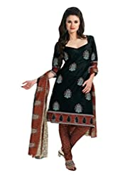 EQ Women Pure Cotton Black Color Salwar Suit.