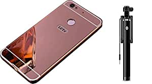 Novo Style Back Cover Case with Bumper Frame Case for Letv Le1s LeEco Le 1s Rose Gold + Wired Selfie Stick No Battery Charging Premium Sturdy Design Best Pocket SizedSelfie Stick