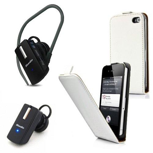 2in1 SPARSET Samsung Galaxy Ace Duos GT-s6802 ..::Slim Flip Style LEDERTASCHE weiss::.. + ..::Mini Bluetooth HEADSET::.. Kopfhörer Freisprechen / Kabellos sprechen / Smartphone Flip Style Ledertasche / Etui / Cover / Leder Tasche mit Magnetverschluss / Case / Hülle / Schutzhülle / Handytasche / Premium Ultra Slim