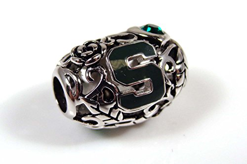 Michigan State Spartans Organic Style Sterling Silver Bead Fits Most European Style Charm Bracelets