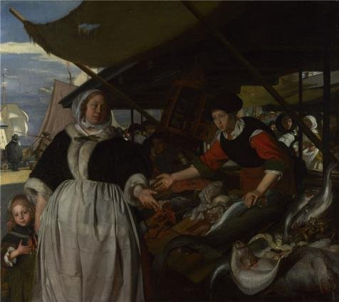 Oil Painting 'Emanuel De Witte - Adriana Van Heusden And Daughter At The Fishmarket,about 1662' Printing On Perfect Effect Canvas , 8x9 Inch / 20x23 Cm ,the Best Bedroom Decoration And Home Decor And Gifts Is This High Resolution Art Decorative Prints On Canvas
