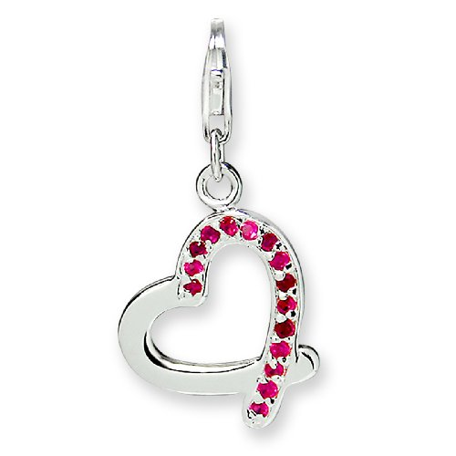 Rafaela Donata Charm Collection Damen-Charm Herz 925 Sterling Silber Zirkonia pink  60600143