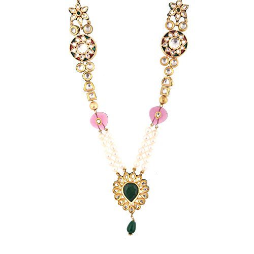 Red Manirathnum Red, Green Brass Kundan Meena Necklace 104.00 Grams For Women (Multicolor)