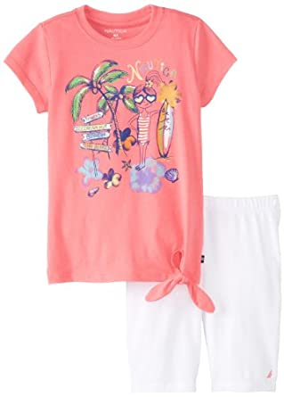Nautica Little Girls' Palm Tree Toddler Short Set, Rose, 3T