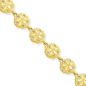 14 Karat Yellow Gold Sand Dollar Bracelet - 7 Inch