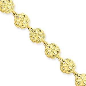 14 Karat Yellow Gold Sand Dollar Bracelet - 7 Inch