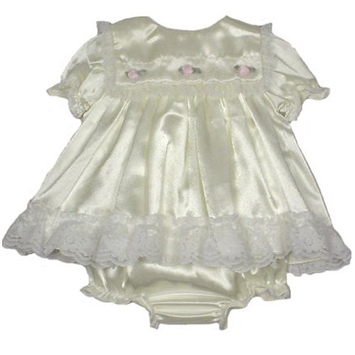 Infant Girls Satin Dress with Organza Ribbon and Bloomers by Petit Ami Faune (Newborn) - Buy Infant Girls Satin Dress with Organza Ribbon and Bloomers by Petit Ami Faune (Newborn) - Purchase Infant Girls Satin Dress with Organza Ribbon and Bloomers by Petit Ami Faune (Newborn) (Baby Discovery Boutique, Baby Discovery Boutique Apparel, Baby Discovery Boutique Toddler Girls Apparel, Apparel, Departments, Kids & Baby, Infants & Toddlers, Girls, Skirts, Dresses & Jumpers, Dresses)