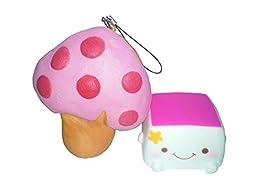 Squishy & Slow Rise Jumbo Mushroom Bread and Smiling Tofu Set (Pink)