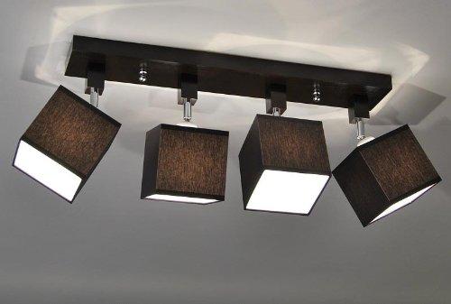 Designer-Decken-Leuchte-Lampe-Retro-Spot-Strahler-Salon-Bar-Theke-E27-Power-LED-New-York-11-Sockelfarbe-Wenge