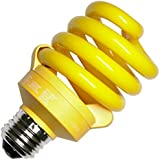 TCP 48918Y CFL - 75 Watt Equivalent (18-watt used) Full Springlamp YELLOW Spiral Light Bulb -  Bug Light