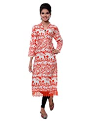 TeeMoods Womens Long Printed Kurti With Long Sleeves - B00VG8WEK4