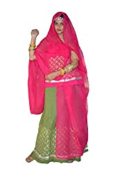 Sunrise Paridhan Women's Pure Cotton Rajputi Dress/Poshak Material Sunrise Paridhan (Lehenga,Kurti,Odhni)
